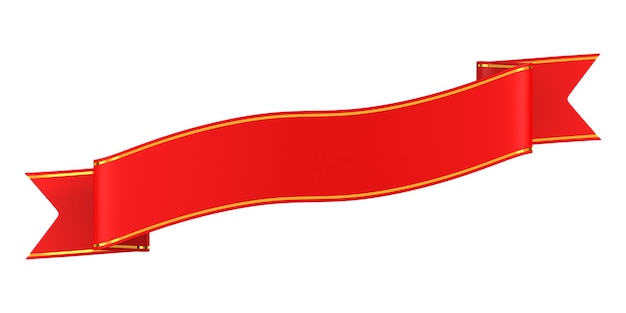 Nastro rosso su sfondo bianco. illustrazione 3d isolata
