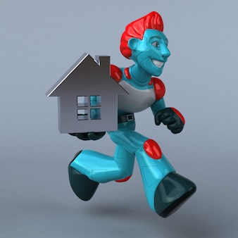 Robot rosso - illustrazione 3d