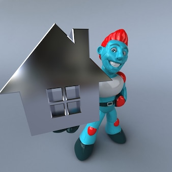 Red robot 3d illustrazione