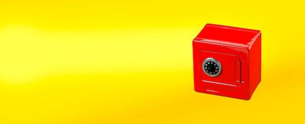 Cassetta di sicurezza rossa isolata su colore giallo