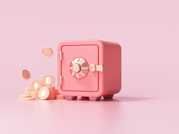 Cassetta di sicurezza rossa con monete d'oro pila vista font su sfondo rosa. illustrazione di rendering 3d