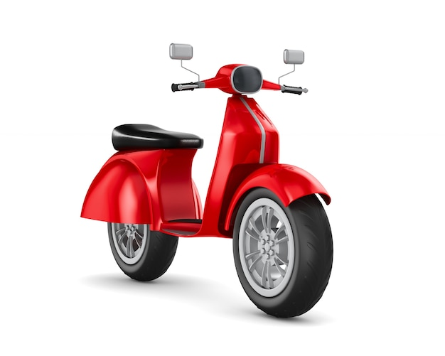 Scooter rosso. rendering 3d isolato