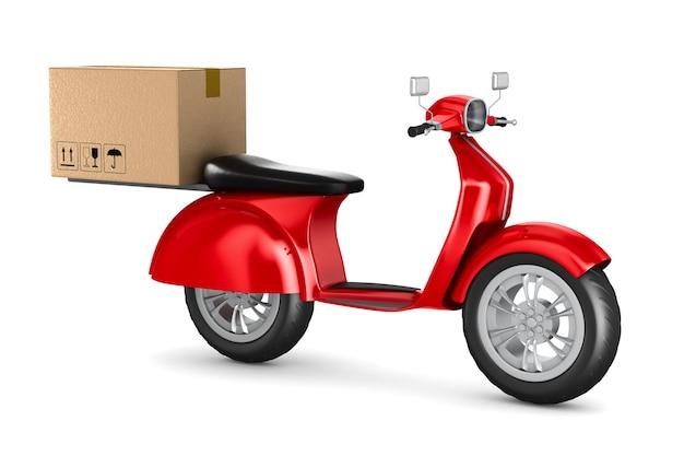 Scooter rosso con scatola di carico. rendering 3d isolato
