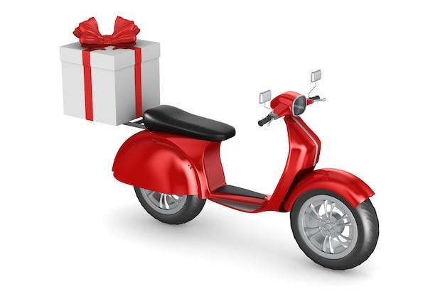 Scooter rosso con confezione regalo su sfondo bianco. illustrazione 3d isolata