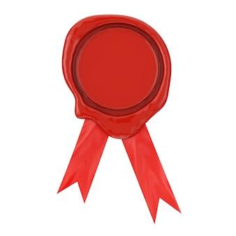 Sigillo di cera o sigillo rosso con nastro su sfondo bianco. rendering 3d