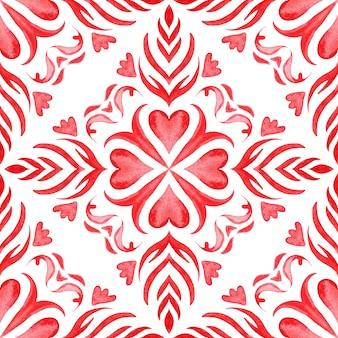 Reticolo delle mattonelle di vernice arabesco acquerello ornamentale rosso senza soluzione di continuità per tessuto e ceramica