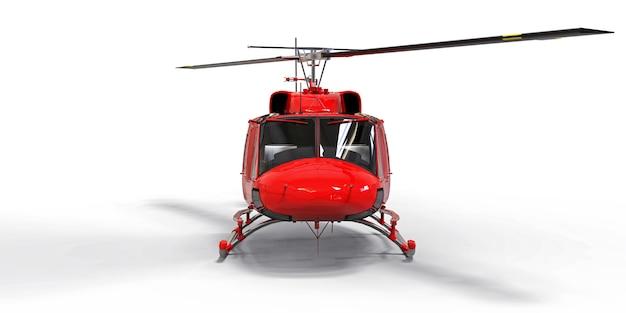Piccolo elicottero da trasporto militare rosso su sfondo bianco isolato