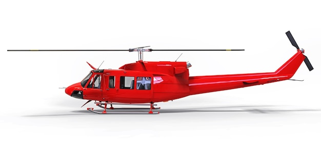 Elicottero da trasporto militare piccolo rosso su sfondo bianco isolato
