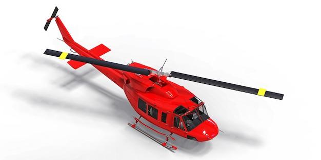 Piccolo elicottero militare rosso di trasporto su spazio isolato bianco. il servizio di salvataggio in elicottero. taxi aereo elicottero per polizia, vigili del fuoco, ambulanza e servizio di salvataggio. illustrazione 3d