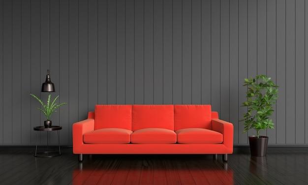 Divano rosso all'interno del soggiorno con copia spazio per mockup