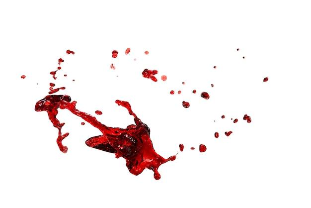 Spruzzi rossi isolati su superficie bianca.
