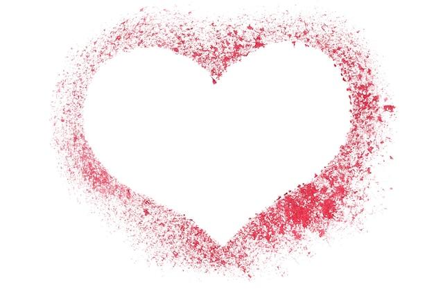 Cuore rosso con stencil - cornice vuota - illustrazione raster