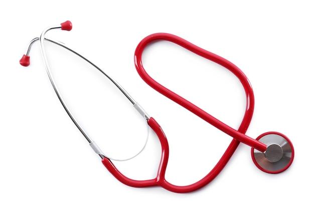 Stetoscopio rosso isolato su bianco Foto Premium