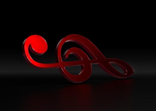 Chiave di violino rossa. rendering 3d.