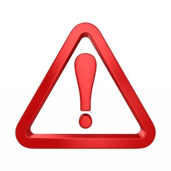 Triangolo rosso e punto esclamativo su bianco. illustrazione 3d isolata