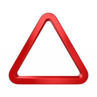 Triangolo rosso su bianco. illustrazione 3d isolata