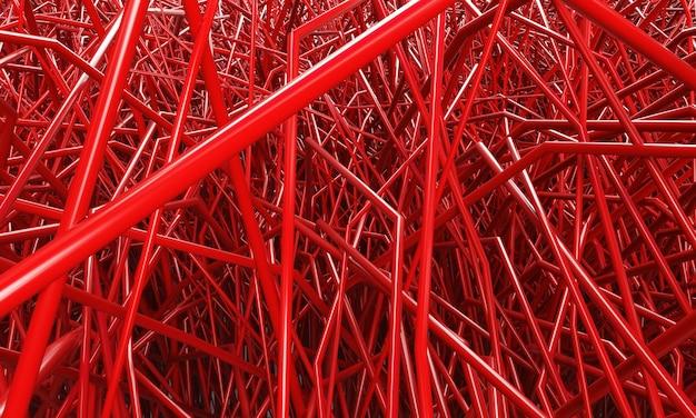 Rendering 3d di tubi rossi su sfondo bianco