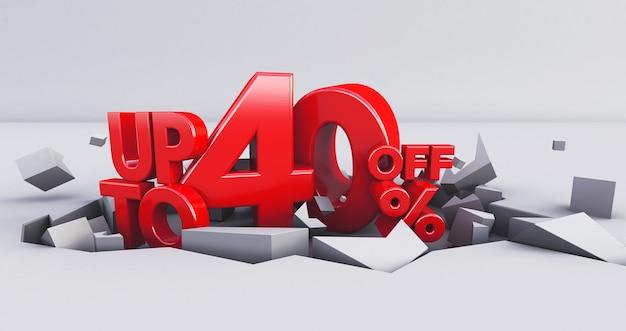 Rosso isolato fino al 40%. 40 quaranta per cento di vendita.