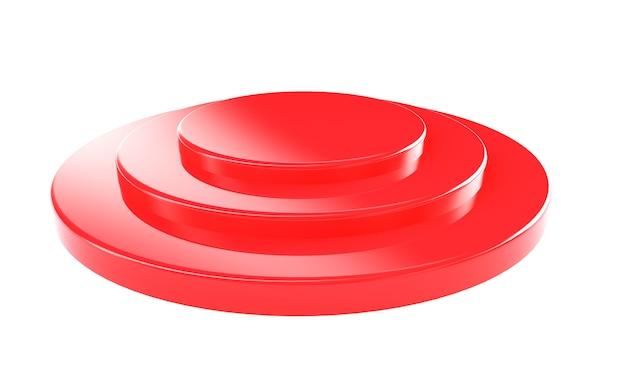 Rendering 3d del pavimento del cilindro vuoto della parete rossa