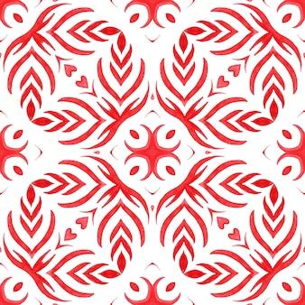 Acquerello rosso disegnato a mano senza soluzione di continuità geometrica disegno delle mattonelle superficie con elementi calligrafici