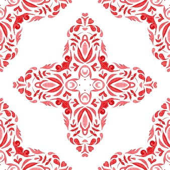 Rosso acquerello disegnato a mano senza soluzione di continuità disegno geometrico delle mattonelle design