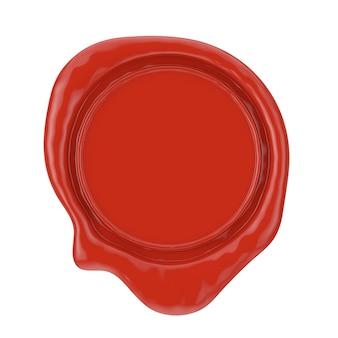 Sigillo di cera rossa con spazio vuoto per il tuo design su sfondo bianco. rendering 3d