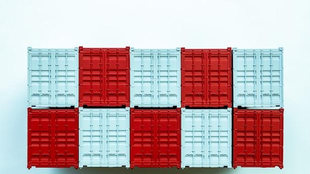 Contenitore di carico rosso e bianco, esportazione di importazione della scatola di distribuzione, industria di spedizione logistica internazionale del trasporto di consegna del trasporto di affari globali su fondo bianco.