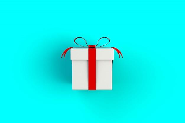 Contenitore di regalo bianco rosso sull'azzurro