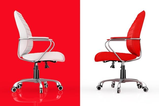 Sedie da ufficio boss in pelle rossa e bianca su sfondo bianco e nero. rendering 3d.