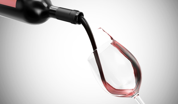 Il vino rosso viene versato dalla bottiglia in un bicchiere in gradiente
