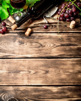 Vino rosso con tralcio di vite. su un tavolo di legno.