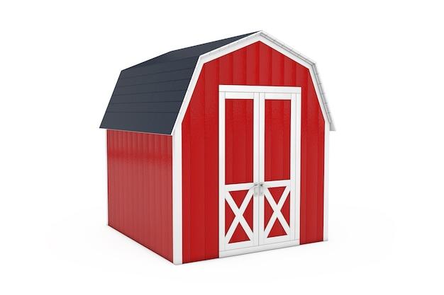 Capannone per attrezzi da giardino in legno rosso piccola casa su uno sfondo bianco. rendering 3d