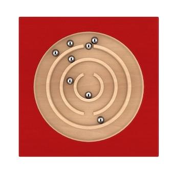 Gioco del giocattolo del labirinto del labirinto di istruzione di legno rosso per l'apprendimento di anticipo di memoria dei bambini su un fondo bianco. rendering 3d