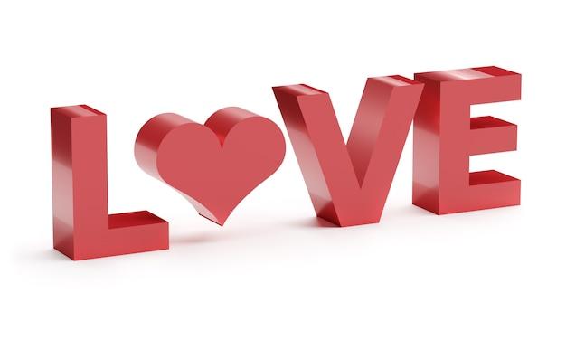 Parola rossa amore con cuore isolato su bianco