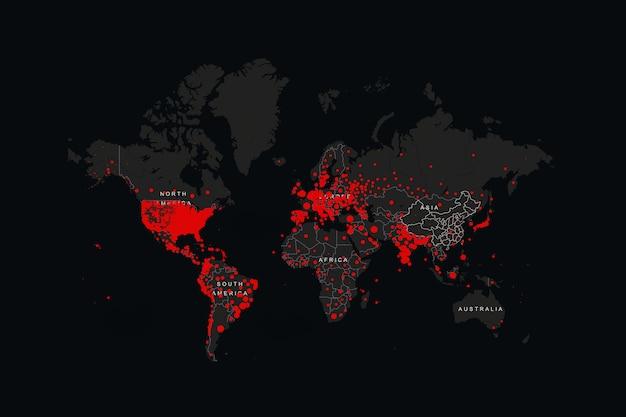 Red world map of coronavirus (covid-19), paesi con covid-19, covid 19 mappa confermata casi segnalati in tutto il mondo. aggiornamento sulla situazione della malattia di coronavirus 2021 diffusione mondiale del coronavirus
