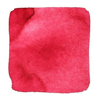 Quadrato acquerello rosso ironico con macchie. elemento astratto per il tuo design