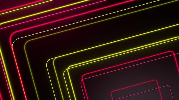 Linee al neon incandescente giallo rosso movimento futuristico di tecnologia astratta