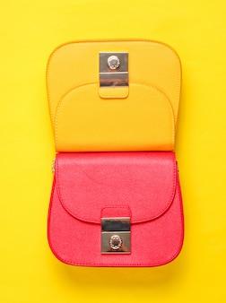 Mini bag in pelle rossa e gialla
