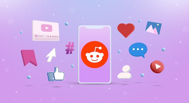 Icona del logo reddit sul telefono con icone di social network intorno a 3d