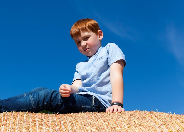 Ragazzo dai capelli rossi seduto su una pila di paglia dorata in un campo ragazzo di 67 anni su una pila di paglia di grano spinoso bambino carino piccolo ragazzo ritratto di un ragazzo