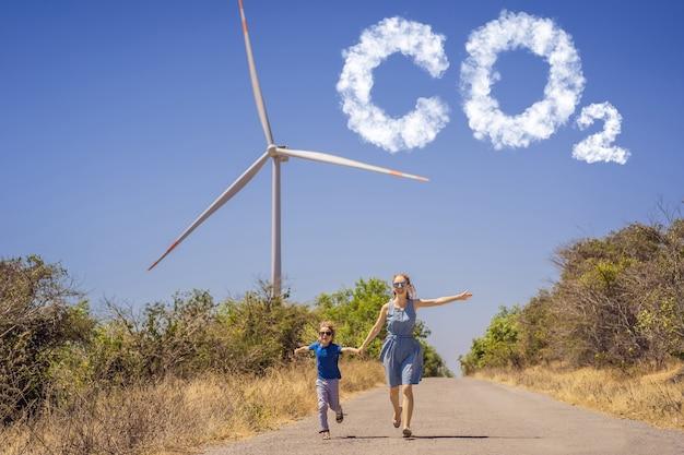 Ridurre i livelli di co grafico del calo dei livelli di anidride carbonica parco eolico di energia alternativa e