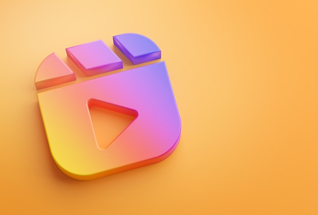 Reels instagram logo su orange
