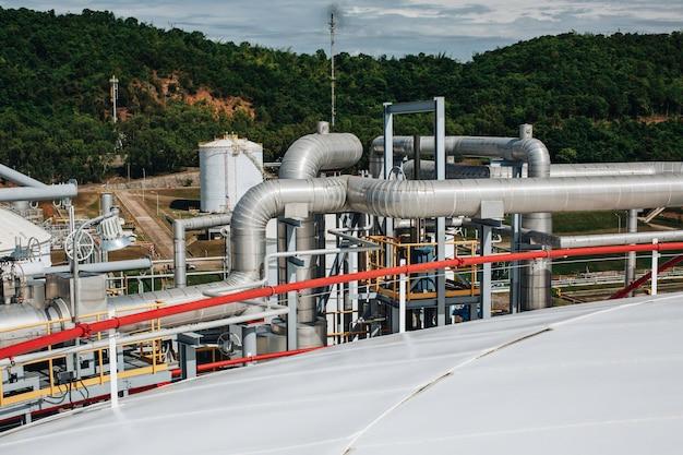 Attrezzatura dell'impianto di raffineria per le valvole dell'olio e del gas della tubazione nel serbatoio del tetto del gas.
