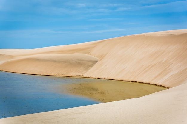 Riflessione e dune nel parco nazionale di lencois maranhenses, brasile