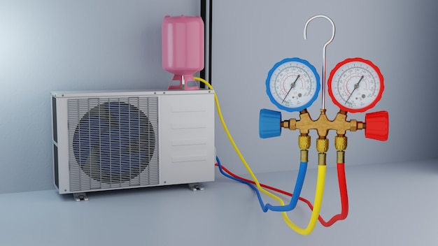 Rifornimento di carburante del condizionatore d'aria 3d render