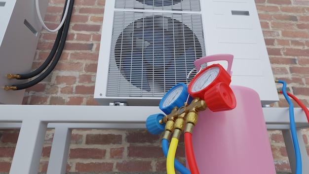 Rifornimento del condizionatore d'aria con freon sul tetto 3d render