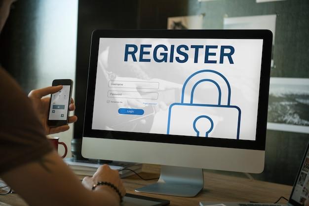 Registrati accedi utente password concept