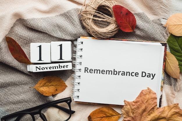 Giorno del ricordo dell'autunno mese calendario novembre