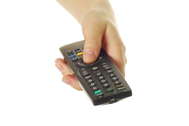 Telecomando in mano isolato