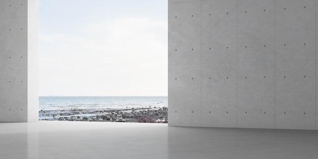 Render della stanza vuota con muro di cemento e pavimento di piastrelle sullo sfondo del mare.